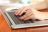在笔记本电脑上,在明亮的背景上写的女性手 — 图库照片