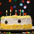 Happy birthday cake, on black background — Stock Photo #23940127