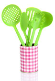 Green plastic kitchen utensil isolated on white — Stock Photo