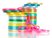 Many bright ribbons isolated on white — Stock Photo