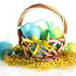 Easter eggs in basket and mimosa flowers, isolated on white - Foto Stock