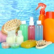 Hotel cosmetics kit on bright color background — Foto de stock #23972795