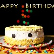 Happy birthday cake, on black background — Foto de Stock