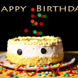Happy birthday cake, on black background — 图库照片