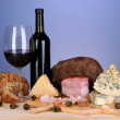 Exquisite still life of wine, cheese and meat products — Stock Photo #23972927