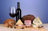Exquisite still life of wine, cheese and meat products — Stock Photo