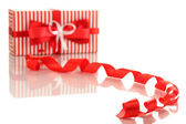 Present box with ribbon curl isolated on white — Stock Photo