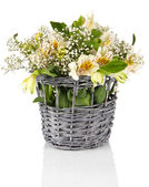 Bouquet of flowers in basket isolated on white — Stock Photo