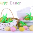 Place setting for Easter isolated on white — Stock Photo #24014815