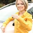 Portrait of happy beautiful woman with car keys, standing near the car — Stock Photo