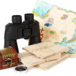 Black modern binoculars with old letters and map of adventure isolated on white - Stock Photo