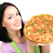 Girl housewife with delicious pizza isolated on white — Stock Photo