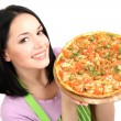 Stock Photo: Girl housewife with delicious pizza isolated on white