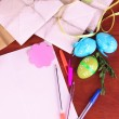 Writing letter of congratulations to Easter holidays on wooden table close-up — Stock Photo #24024503