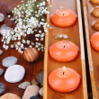 Beautiful candles in water on wooden table close-up - 