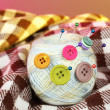 Ball of thread in the buttons — Stock Photo