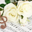 Treble clef and roses on musical background — Stock fotografie