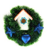 Decorative nesting box and Christmas decoration, isolated on white — Stock Photo
