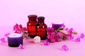 Aceite de spa y freesia sobre fondo púrpura — Foto de Stock