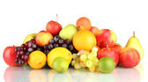 Assortment of exotic fruits isolated on white — Stock Photo