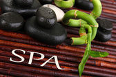 Beautiful bamboo branches with stones for spa on bamboo mat — Stock Photo