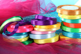 Bright ribbons on bright background — Stock Photo