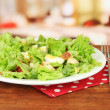 Caesar salad on white plate, on bright background — Stock Photo