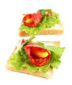 Salami rolls with paprika pieces inside, on roasted bread, isolated on white — Stock Photo