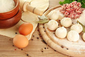 Raw dumplings, ingredients and dough, on wooden table — Stock Photo