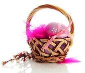 Beautiful easter eggs in basket, isolated on white — Stock Photo