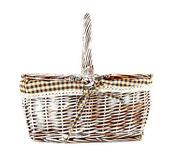 Picnic basket, isolated on white — Stock Photo