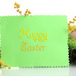 Card with easter eggs and mimosa flowers, isolated on white - Stock Photo