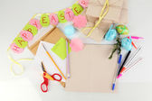 Writing letter of congratulations to Easter holidays isolated on white — Stock Photo
