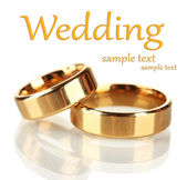 Wedding rings isolated on white — ストック写真