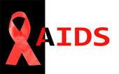 Aids awareness nastro rosso isolato su nero con la parola aids — Foto Stock