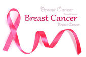 Pink breast cancer ribbon isolated on white — Stock Photo