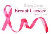Różowy piersi Rak wstążki na białym tle — Zdjęcie stockowe