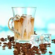 Cold coffee with ice in glass on blue background — Stock Photo #24214683