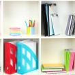 White office shelves with different stationery, close up — Stock Photo #24215129