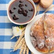 Stock Photo: Taste croissants and jam, on tableclot