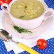 Nourishing soup in pink pon blue tablecloth close-up — Stock Photo #24215993