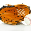 Baseball glove and ball isolated on white — Stock fotografie