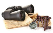 Black modern binoculars with compass and letters isolated on white — Stockfoto
