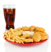 Fried chicken nuggets with french fries,cola and sauce isolated on white — Stock Photo