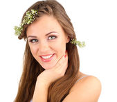Young woman with beautiful hairstyle and wreath, isolated on white — Stock Photo