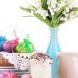 Place setting for Easter close up — Stok fotoğraf