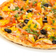Tasty pizza with vegetables, chicken and olives isolated on white — Stock Photo