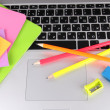 Laptop with stationery close-up — Foto de Stock