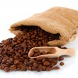 Royalty-Free Stock Photo: Coffee beans in sack isolated on white