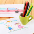 Colorful pencils in cup on table — Stock Photo #24278493